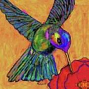 Hummingbird On Yellow Poster