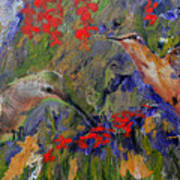 Hummingbirds 2, Abstract Art Poster