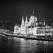 Hungarian Parliament Night Bw Poster