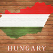 Hungary Rustic Map On Wood Poster