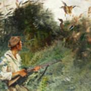 Hunter And Mallards Poster