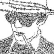 Hunter S. Thompson Black And White Word Portrait Poster by Kato Smock