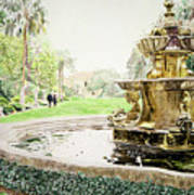 Huntington Fountain Morning Mist Poster by David Lloyd Glover