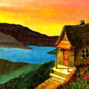 Hut On Lake Poster