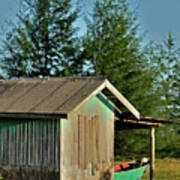 Hut With Green Boat Poster