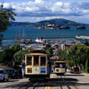 Hyde Street Cable Car Line And San Francisco Bay Poster