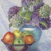 Hydrangea's And Apples Poster