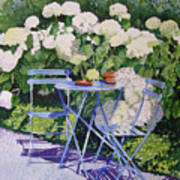 Hydrangeas At Angele Poster by Gail Chandler