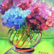 Hydrangeas In A Glass Vase Poster