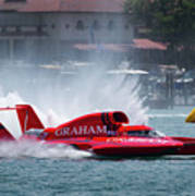 hydroplane racing boat on the Detroit river Poster