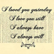 I Always Will Love You Poster