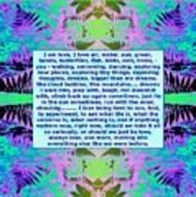 I Am Love Stream Of Consciousness Poem On Fern Photo Art Poster
