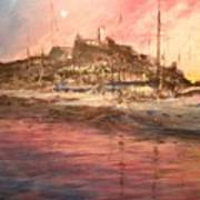 Ibiza Old Town At Sunset Poster