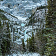 Ice Climbers Approaching Professor Falls Rated Wi4 In Banff Nati Poster