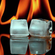 Ice Cubes On Fire Poster