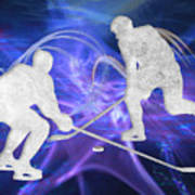 Ice Hockey Players Fighting For The Puck Poster