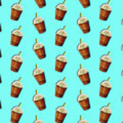 Iced Coffee To Go Pattern Poster