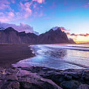 Iceland Beach Sunrise At Stokksnes Poster