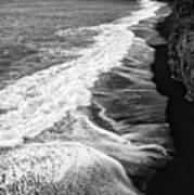 Iceland Coast Dyrholaey Black And White Poster