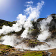 Iceland Geothermal Area With Steam From Hot Springs Poster