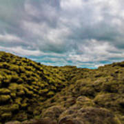 Iceland Moss And Clouds Poster