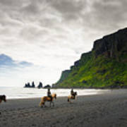 Icelandic Horses On The Beach In Vik Iceland Poster