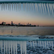Icicles And Chicago Skyline Poster