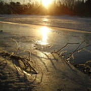Icy Mississippi River Bank At Sunrise Poster