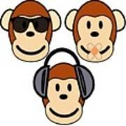 Illustration Of Cartoon Three Monkeys See Hear Speak No Evil Poster