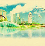 Illustration Of Singapore In Watercolour Poster