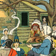 Illustration Of The First Thanksgiving Poster