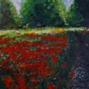 Impressionist Poppy Field  Poster