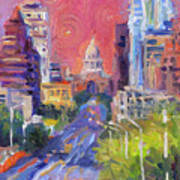 Impressionistic Downtown Austin City Painting Poster