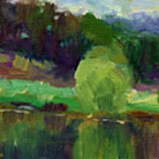 Impressionistic Oil Landscape Lake Painting Poster