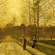 In The Golden Gloaming Poster by John Atkinson Grimshaw