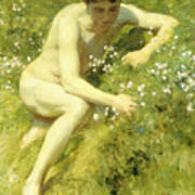 In The Meadow Poster by Henry Scott Tuke