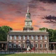 Independence Hall Philadelphia Sunset Poster