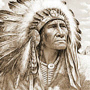 Indian Chief With Headdress Poster