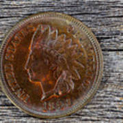 Indian Head Cent In Uncirculated Condition On Old Wood  Poster