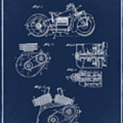Indian Motorcycle Patent 1943 Blue Poster