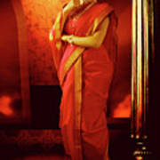 Indian Woman In Traditional 9 Yard Saree Poster