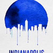 Indianapolis Skyline Blue Poster