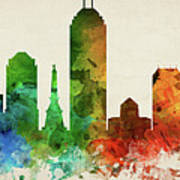 Indianapolis Skyline Panorama Usinin-pa03 Poster