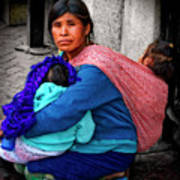Indigenous Woman And Children Of Mexico Poster