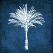 Indigo And White Palm Tree- Art By Linda Woods Poster
