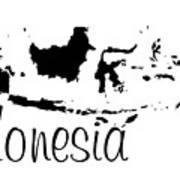 Indonesia In Black Poster
