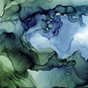 Ink Abstract Painting Blues Greens Poster