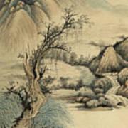 Ink Painting Landscape River Poster