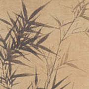 Ink Painting Stone Bamboo Poster