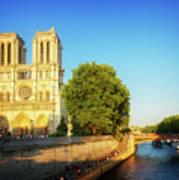 Notre Dame In Sunset Light Poster